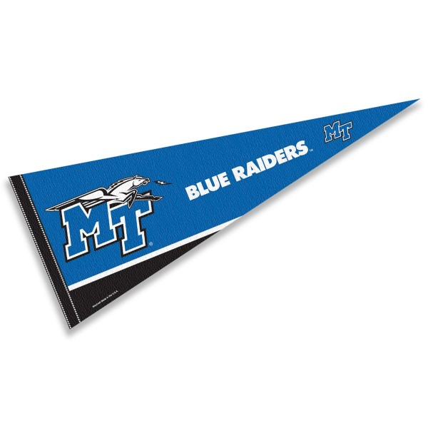 Middle Tennessee State University Decorations consists of our full size pennant which measures 12x30 inches, is constructed of felt, is single sided imprinted, and offers a pennant sleeve for insertion of a pennant stick, if desired. This Middle Tennessee State University Decorations is officially licensed by the selected university and the NCAA.