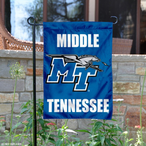 Middle Tennessee State University Garden Flag is 13x18 inches in size, is made of 2-layer polyester, screen printed Middle Tennessee State University athletic logos and lettering. Available with Same Day Express Shipping, Our Middle Tennessee State University Garden Flag is officially licensed and approved by Middle Tennessee State University and the NCAA.