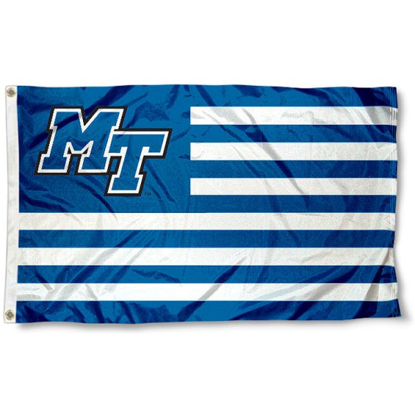 Middle Tennessee State University Striped Flag measures 3'x5', is made of polyester, offers double stitched flyends for durability, has two metal grommets, and is viewable from both sides with a reverse image on the opposite side. Our Middle Tennessee State University Striped Flag is officially licensed by the selected school university and the NCAA.