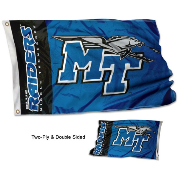 Middle Tennessee University Flag measures 3'x5' in size, is made of 2 layer 100% polyester, has quadruple stitched fly ends for durability, and is viewable and readable correctly on both sides. Our Middle Tennessee University Flag is officially licensed by the university, school, and the NCAA
