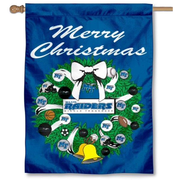 Middle Tennessee University Holiday Flag is a decorative house flag, 30x40 inches, made of 100% polyester, Holiday NCAA team insignias, and has a top pole sleeve to hang vertically. Our Middle Tennessee University Holiday Flag is officially licensed by the selected university and the NCAA.