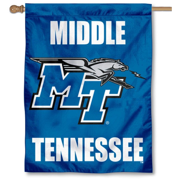 Middle Tennessee University House Flag is a vertical house flag which measures 30x40 inches, is made of 2 ply 100% polyester, offers dye sublimated NCAA team insignias, and has a top pole sleeve to hang vertically. Our Middle Tennessee University House Flag is officially licensed by the selected university and the NCAA