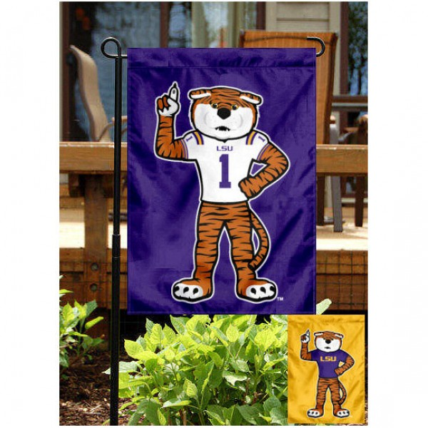 Mike the Tiger Mascot Garden Flag is 13x18 inches in size, is made of 2-layer polyester, screen printed Mike the Tiger Mascot athletic logos and lettering. Available with Same Day Express Shipping, Our Mike the Tiger Mascot Garden Flag is officially licensed and approved by Mike the Tiger Mascot and the NCAA.