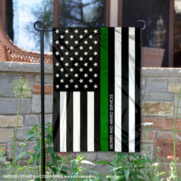 Military Green Thin Line Garden Flag is 13x18 inches in size, is made of 2-layer polyester, screen printed logos and lettering, and is viewable on both sides. Available same day shipping, our Military Green Thin Line Garden Flag is a great addition to your decorative garden flag selections.
