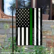 Military Green Thin Line Garden Flag