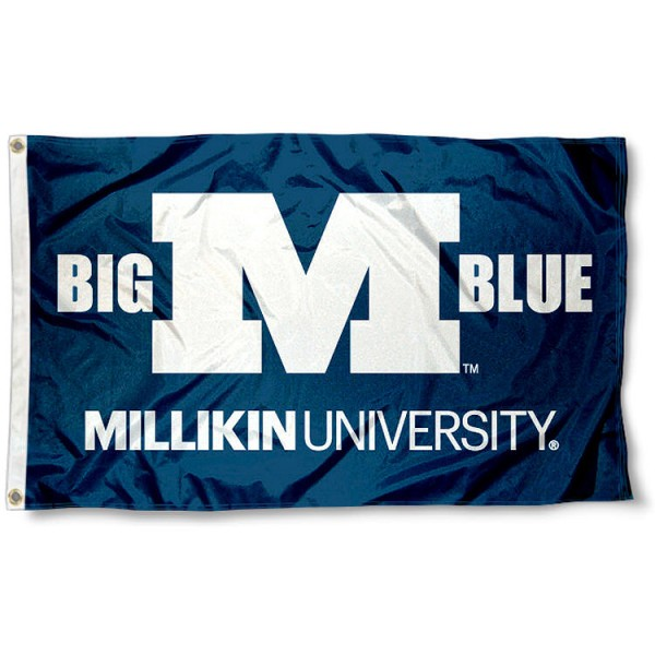 Millikin University Flag measures 3'x5', is made of 100% poly, has quadruple stitched sewing, two metal grommets, and has double sided Millikin University logos. Our Millikin University Flag is officially licensed by the selected university and the NCAA.