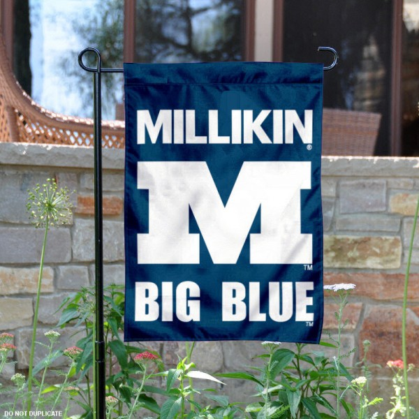 Millikin University Garden Flag is 13x18 inches in size, is made of 2-layer polyester, screen printed Millikin University athletic logos and lettering. Available with Same Day Express Shipping, Our Millikin University Garden Flag is officially licensed and approved by Millikin University and the NCAA.