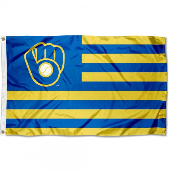 Milwaukee Brewers Americana Nation Flag measures 3x5 feet, is made of polyester, offers quad-stitched flyends, has two metal grommets, and is viewable from both sides with a reverse image on the opposite side. Our Milwaukee Brewers Americana Nation Flag is Genuine MLB Merchandise.