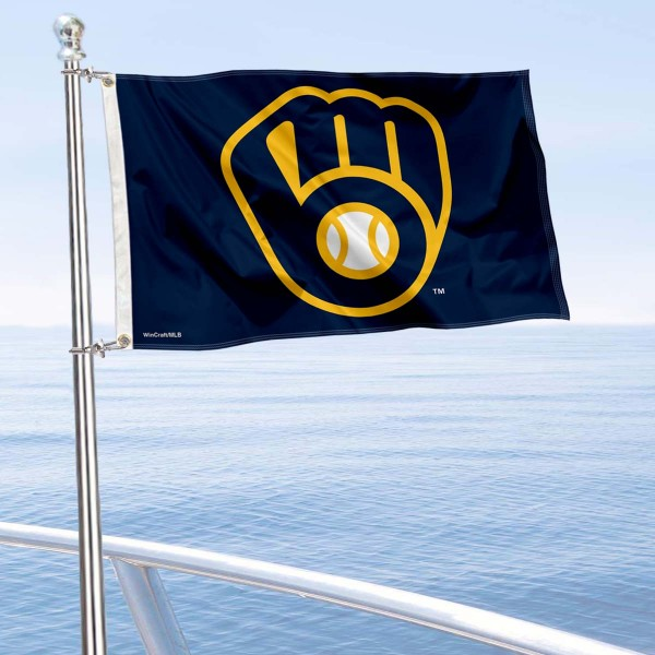 """Our Milwaukee Brewers Boat and Nautical Flag is 12""""x18"""", made of three-ply poly, has a solid header with two metal grommets, and is double sided. This Boat and Nautical Flag for Milwaukee Brewers is Officially Licensed by the MLB and can also be used as a motorcycle flag, boat flag, golf cart flag, or recreational flag."""