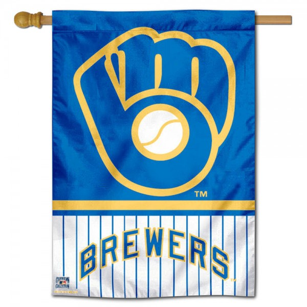 Milwaukee Brewers Double Sided House Flag is screen printed with Milwaukee Brewers logos, is made of 2-ply 100% polyester, and is two sided and double sided. Our banners measure 28x40 inches and hang vertically with a top pole sleeve to insert your banner pole or flagpole.