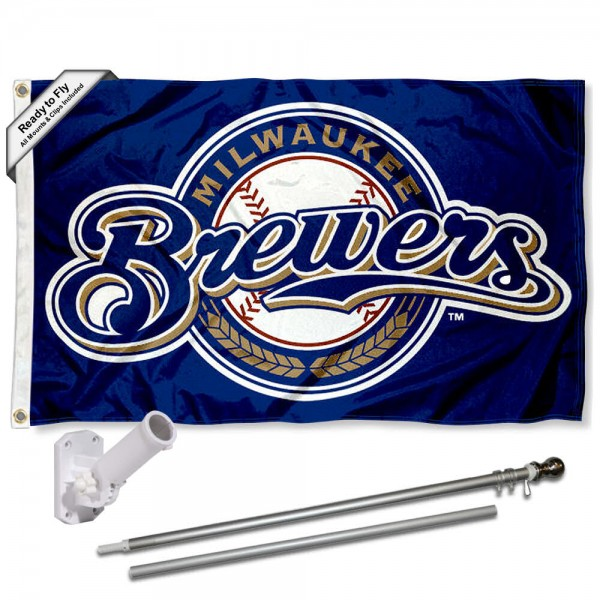 Our Milwaukee Brewers Flag Pole and Bracket Kit includes the flag as shown and the recommended flagpole and flag bracket. The flag is made of polyester, has quad-stitched flyends, and the MLB Licensed team logos are double sided screen printed. The flagpole and bracket are made of rust proof aluminum and includes all hardware so this kit is ready to install and fly.