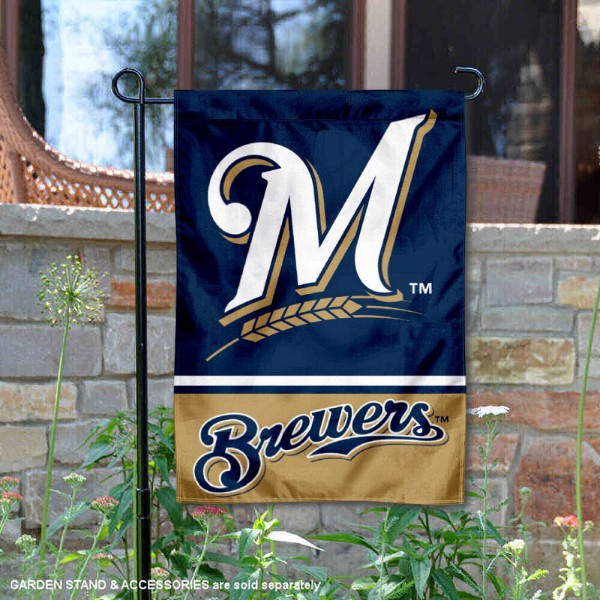 Milwaukee Brewers Garden Flag is 12.5x18 inches in size, is made of 2-ply polyester, and has two sided screen printed logos and lettering. Available with Express Next Day Shipping, our Milwaukee Brewers Garden Flag is MLB Genuine Merchandise and is double sided.