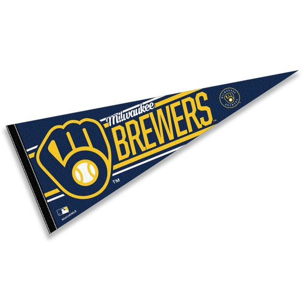 This Milwaukee Brewers Pennant measures 12x30 inches, is constructed of felt, and is single sided screen printed with the Milwaukee Brewers logo and insignia. Each Milwaukee Brewers Pennant is a MLB Genuine Merchandise product.