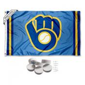 Milwaukee Brewers Retro Glove Banner Flag with Tack Wall Pads