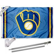Milwaukee Brewers Retro Glove Flag Pole and Bracket Kit