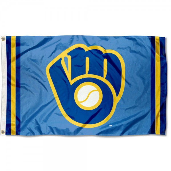 Our Milwaukee Brewers Retro Glove Logo Flag is double sided, made of poly, 3'x5', has two grommets, and four-stitched fly ends. These Milwaukee Brewers Retro Glove Logo Flags are Officially Licensed by the MLB.