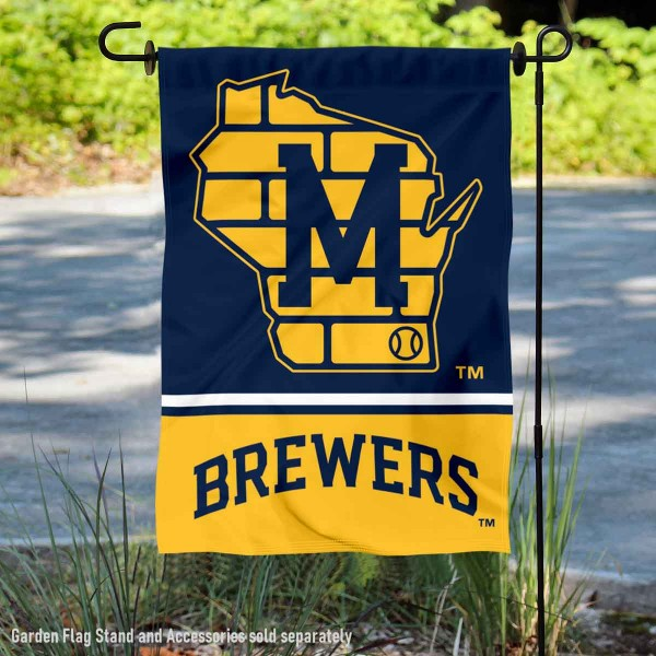 Milwaukee Brewers Retro Plain M Logo Double Sided Garden Flag is 12.5x18 inches in size, is made of 2-ply polyester, and has two sided screen printed logos and lettering. Available with Express Next Day Shipping, our Milwaukee Brewers Retro Plain M Logo Double Sided Garden Flag is MLB Genuine Merchandise and is double sided.