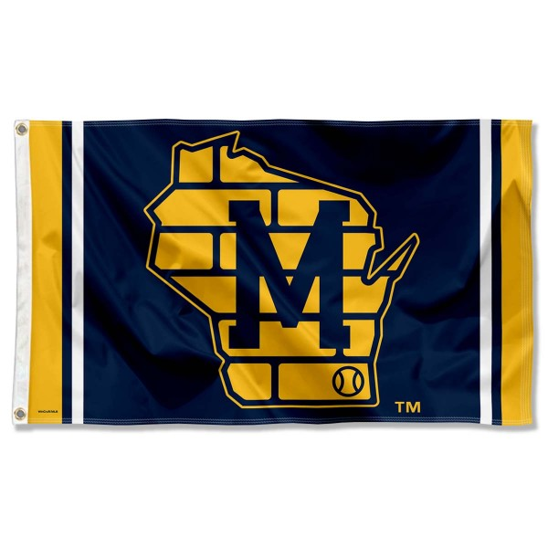 Our Milwaukee Brewers State of Wisconsin Logo 3x5 Large Banner Flag is double sided, made of poly, 3'x5', has two grommets, and four-stitched fly ends. These Milwaukee Brewers State of Wisconsin Logo 3x5 Large Banner Flags are Officially Licensed by the MLB.