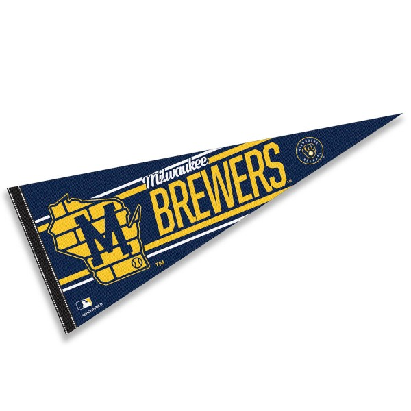 This Milwaukee Brewers State of Wisconsin Retro M Pennant measures 12x30 inches, is constructed of felt, and is single sided screen printed with the Milwaukee Brewers logo and insignia. Each Milwaukee Brewers State of Wisconsin Retro M Pennant is a MLB Genuine Merchandise product.