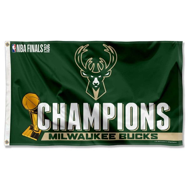 The Milwaukee Bucks 2021 NBA Champions Banner Flag is four-stitched bordered, double sided, made of poly, 3'x5', and has two grommets. These Milwaukee Bucks 2021 NBA Champions Banner Flags are NBA Genuine Merchandise.