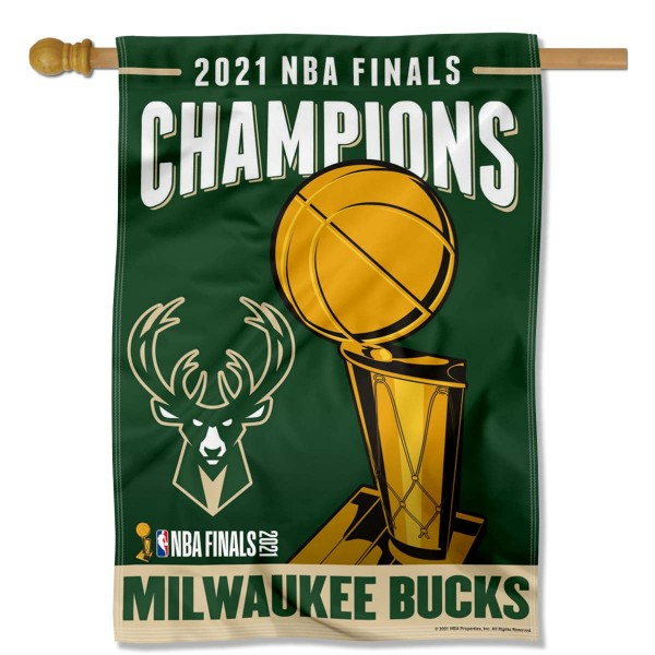 Milwaukee Bucks 2021 NBA Champions House Flag is made of 100% poly, measure 28x40 inches, hang vertically, has a top pole sleeve, and is viewable from both sides. This Milwaukee Bucks 2021 NBA Champions House Flag can ship Same Day and offers screen printed team logos and is NBA licensed Flag Merchandise.