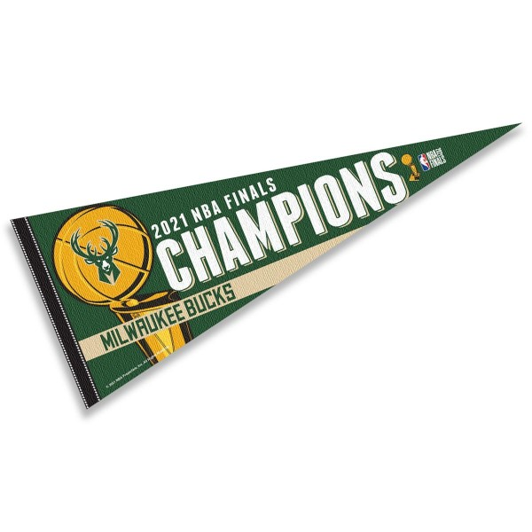 Milwaukee Bucks 2021 NBA Champions Pennant is 12x30 inches in size is made of wool and felt blends, and offers a pennant stick sleeve for insertion of a pennant stick, if desired. Our Milwaukee Bucks 2021 NBA Champions Pennant is NBA genuine merchandise.