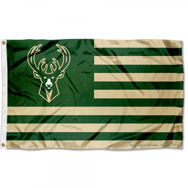 Milwaukee Bucks Americana Stripes Nation Flag measures 3x5 feet, is made of polyester, offers quad-stitched flyends, has two metal grommets, and is viewable from both sides with a reverse image on the opposite side. Our Milwaukee Bucks Americana Stripes Nation Flag is Genuine NBA Merchandise.