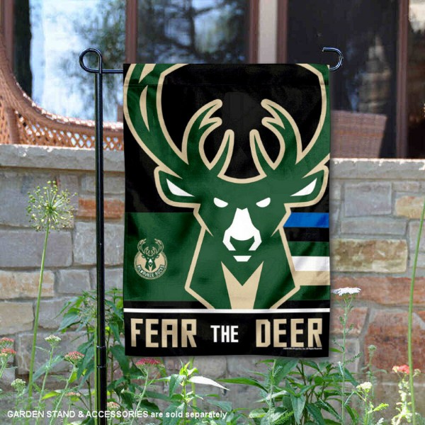 Milwaukee Bucks Fear the Deer Double Sided Garden Flag is 12.5x18 inches in size, is made of 2-ply polyester, and has two sided screen printed logos and lettering. Available with Express Next Day Shipping, our Milwaukee Bucks Fear the Deer Double Sided Garden Flag is NBA Genuine Merchandise and is double sided.
