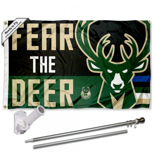 Our Milwaukee Bucks Fear The Deer Flag Pole and Bracket Kit includes the flag as shown and the recommended flagpole and flag bracket. The flag is made of polyester, has quad-stitched flyends, and the NBA Licensed team logos are double sided screen printed. The flagpole and bracket are made of rust proof aluminum and includes all hardware so this kit is ready to install and fly.