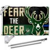 Milwaukee Bucks Fear The Deer Flag Pole and Bracket Kit