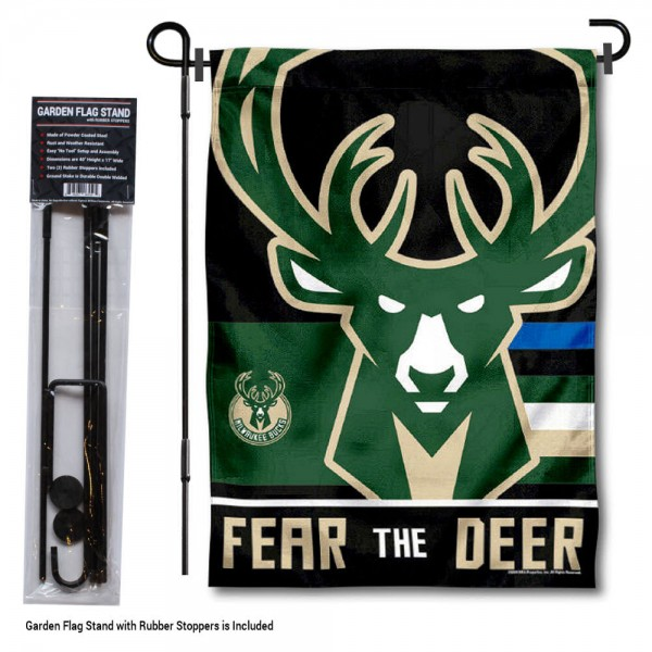 """Milwaukee Bucks Fear The Deer Garden Flag and Flag Pole Stand kit includes our 12.5""""x18"""" garden banner which is made of 2 ply poly with liner and has screen printed licensed logos. Also, a 40""""x17"""" inch garden flag stand is included so your Milwaukee Bucks Fear The Deer Garden Flag and Flag Pole Stand is ready to be displayed with no tools needed for setup. Fast Overnight Shipping is offered and the flag is Officially Licensed and Approved by the selected team."""