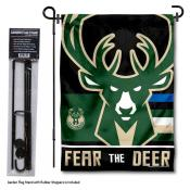 Milwaukee Bucks Fear The Deer Garden Flag and Flag Pole Stand