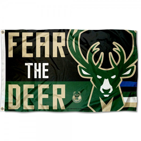 The Milwaukee Bucks Fear the Deer Logo 3x5 Flag is four-stitched bordered, double sided, made of poly, 3'x5', and has two grommets. These Milwaukee Bucks Fear the Deer Logo 3x5 Flags are NBA Genuine Merchandise.
