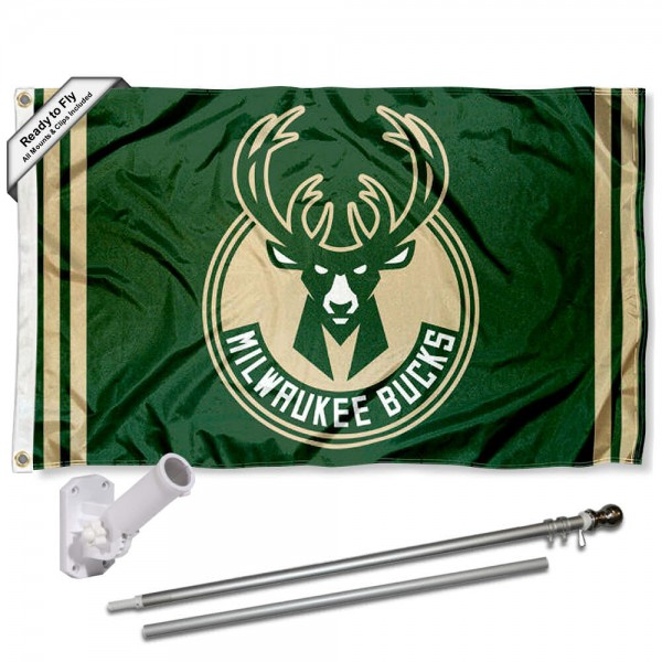 Our Milwaukee Bucks Flag Pole and Bracket Kit includes the flag as shown and the recommended flagpole and flag bracket. The flag is made of polyester, has quad-stitched flyends, and the NBA Licensed team logos are double sided screen printed. The flagpole and bracket are made of rust proof aluminum and includes all hardware so this kit is ready to install and fly.