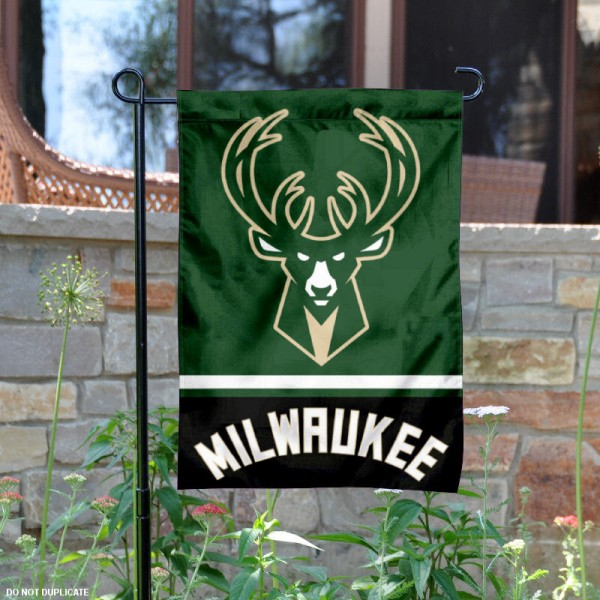 Milwaukee Bucks Garden Flag is 12.5x18 inches in size, is made of 2-ply polyester, and has two sided screen printed logos and lettering. Available with Express Next Day Shipping, our Milwaukee Bucks Garden Flag is NBA Genuine Merchandise and is double sided.