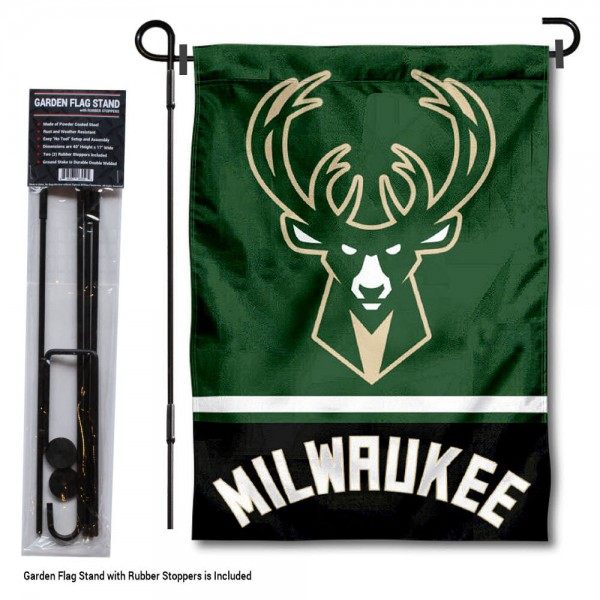 "Milwaukee Bucks Garden Flag and Stand kit includes our 12.5""x18"" garden banner which is made of 2 ply poly with liner and has screen printed licensed logos. Also, a 40""x17"" inch garden flag stand is included so your Milwaukee Bucks Garden Flag and Stand is ready to be displayed with no tools needed for setup. Fast Overnight Shipping is offered and the flag is Officially Licensed and Approved by the selected team."