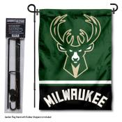 Milwaukee Bucks Garden Flag and Stand