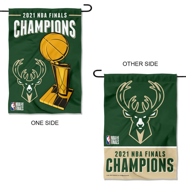 Milwaukee Bucks NBA 2021 Champions Garden and Yard Flag has printed Milwaukee Bucks logos on both sides, is double sided, and measures 12x18 inches. Our Garden Flag for the Milwaukee Bucks is officially licensed by NBA and is great for your garden, entranceway, mailbox, or window.