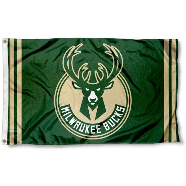 The Milwaukee Bucks New Logo Flag is four-stitched bordered, double sided, made of poly, 3'x5', and has two grommets. These Milwaukee Bucks New Logo Flags are NBA Genuine Merchandise.