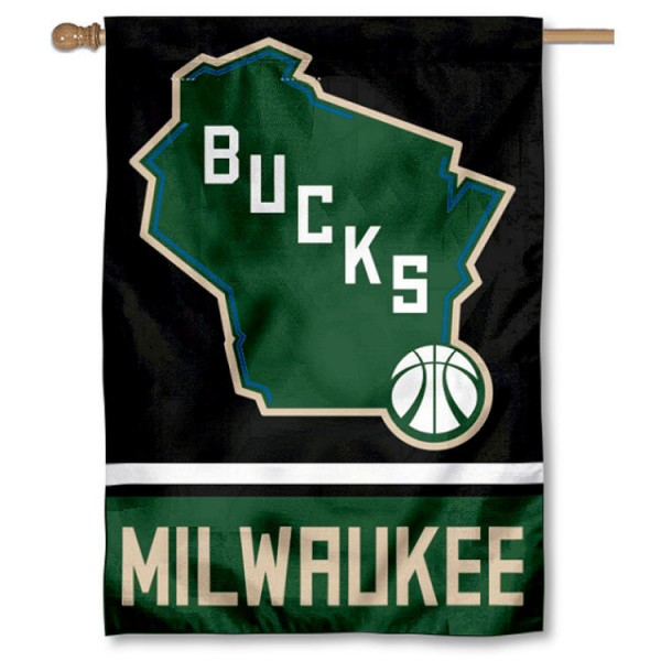 Milwaukee Bucks State of Wisconsin Double Sided House Flag is screen printed with Milwaukee Bucks logos, is made of 2-ply 100% polyester, and is two sided and double sided. Our banners measure 28x40 inches and hang vertically with a top pole sleeve to insert your banner pole or flagpole.