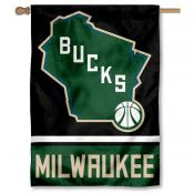 Milwaukee Bucks State of Wisconsin Double Sided House Flag