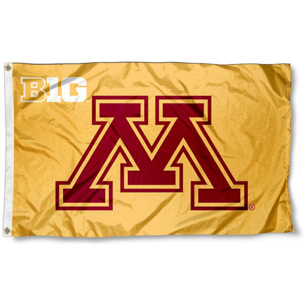 Minnesota Big 10 Flag measures 3'x5', is made of 100% poly, has quadruple stitched sewing, two metal grommets, and has double sided Team University logos. Our Minnesota Big 10 Flag is officially licensed by the selected university and the NCAA.