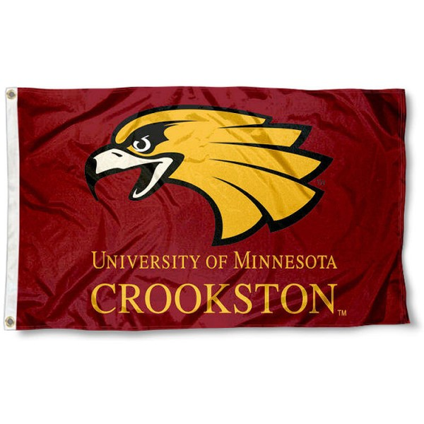 Minnesota Crookston Golden Eagles Flag measures 3x5 feet, is made of 100% polyester, offers quadruple stitched flyends, has two metal grommets, and offers screen printed NCAA team logos and insignias. Our Minnesota Crookston Golden Eagles Flag is officially licensed by the selected university and NCAA.