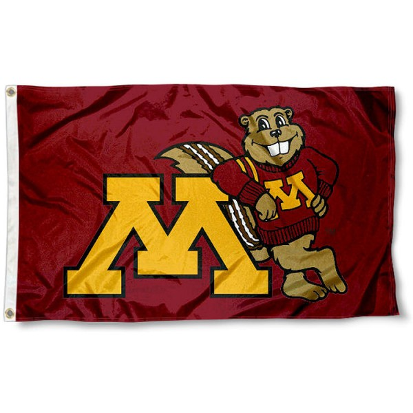 Minnesota Goldy Gopher Flag measures 3x5 feet, is made of 100% polyester, offers quadruple stitched flyends, has two metal grommets, and offers screen printed NCAA team logos and insignias. Our Minnesota Goldy Gopher Flag is officially licensed by the selected university and NCAA