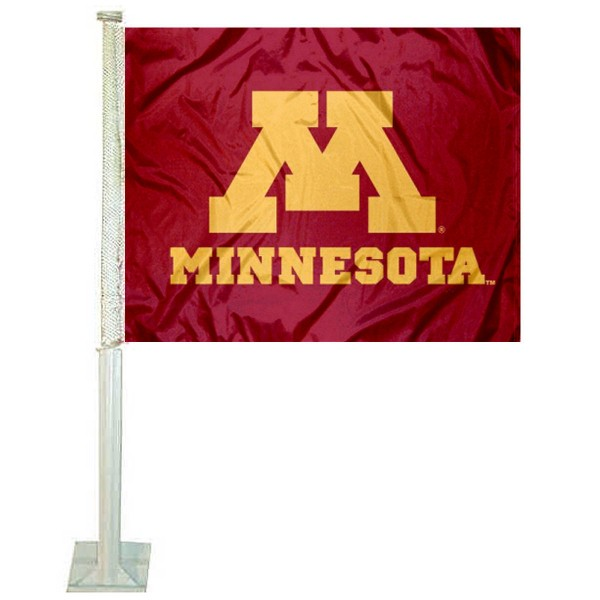 Minnesota Gophers Car Window Flag measures 12x15 inches, is constructed of sturdy 2 ply polyester, and has screen printed school logos which are readable and viewable correctly on both sides. Minnesota Gophers Car Window Flag is officially licensed by the NCAA and selected university.