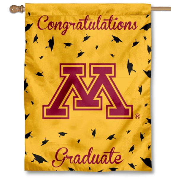 Minnesota Gophers Congratulations Graduate Flag measures 30x40 inches, is made of poly, has a top hanging sleeve, and offers dye sublimated Minnesota Gophers logos. This Decorative Minnesota Gophers Congratulations Graduate House Flag is officially licensed by the NCAA.