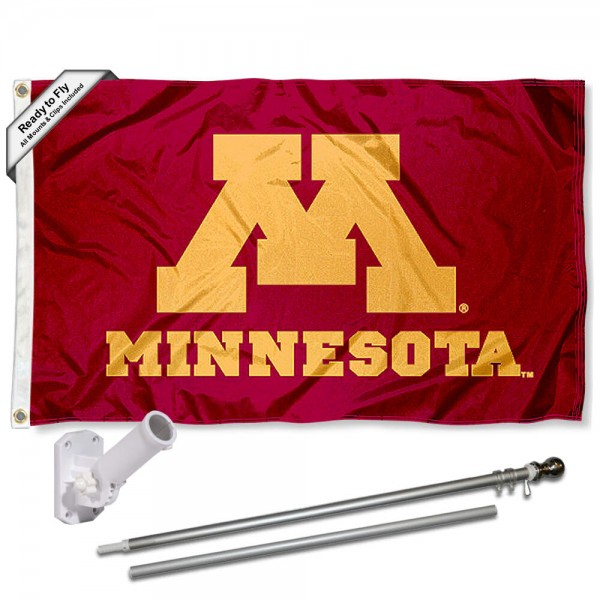 Our Minnesota Gophers Flag Pole and Bracket Kit includes the flag as shown and the recommended flagpole and flag bracket. The flag is made of polyester, has quad-stitched flyends, and the NCAA Licensed team logos are double sided screen printed. The flagpole and bracket are made of rust proof aluminum and includes all hardware so this kit is ready to install and fly.