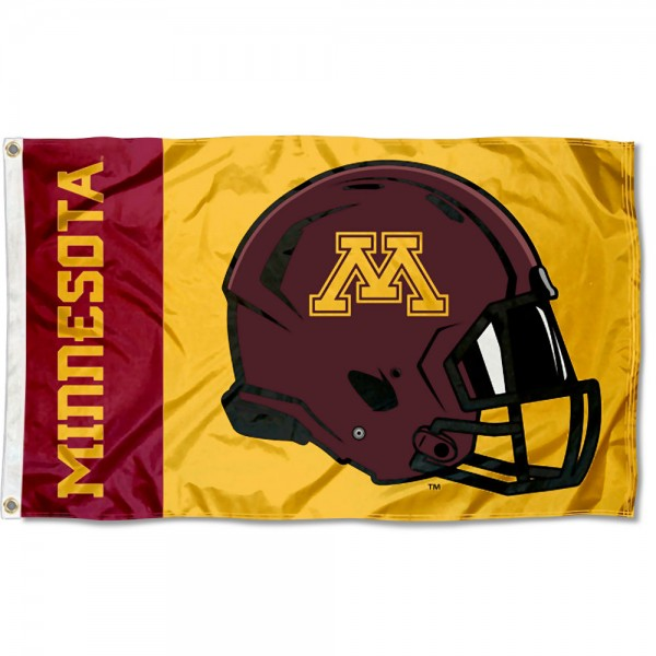 Minnesota Gophers Football Helmet Flag measures 3x5 feet, is made of 100% polyester, offers quadruple stitched flyends, has two metal grommets, and offers screen printed NCAA team logos and insignias. Our Minnesota Gophers Football Helmet Flag is officially licensed by the selected university and NCAA.