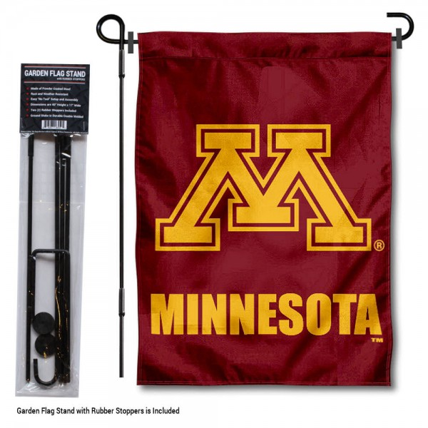 "Minnesota Gophers Garden Flag and Pole Stand kit includes our 13""x18"" garden banner which is made of 2 ply poly with liner and has screen printed licensed logos. Also, a 40""x17"" inch garden flag stand is included so your Minnesota Gophers Garden Flag and Pole Stand is ready to be displayed with no tools needed for setup. Fast Overnight Shipping is offered and the flag is Officially Licensed and Approved by the selected team."