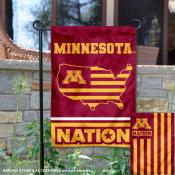 Minnesota Gophers Garden Flag with USA Country Stars and Stripes